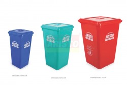 STORAGE BUCKETS WITH FLAT LIDS